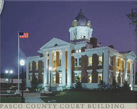 A picture of the historic Pasco County courthouse building at night